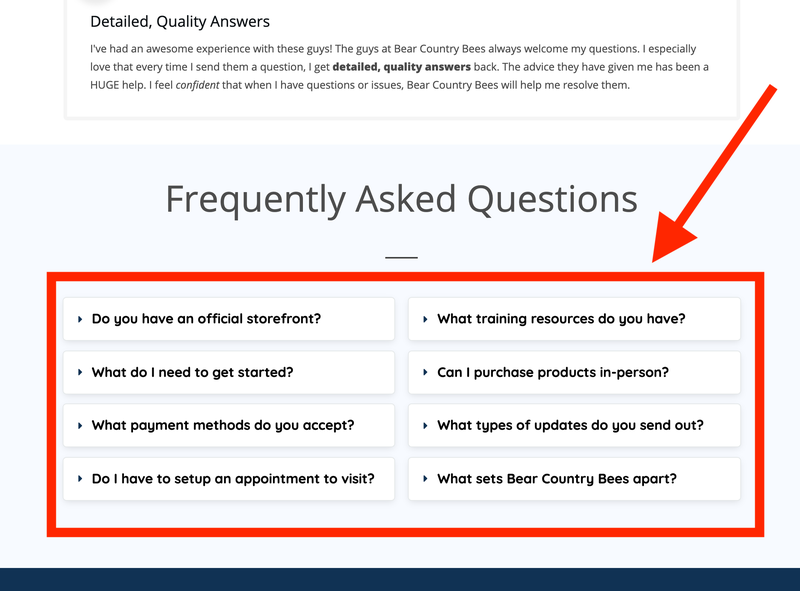 Contact Page FAQs - Bear Country Bees