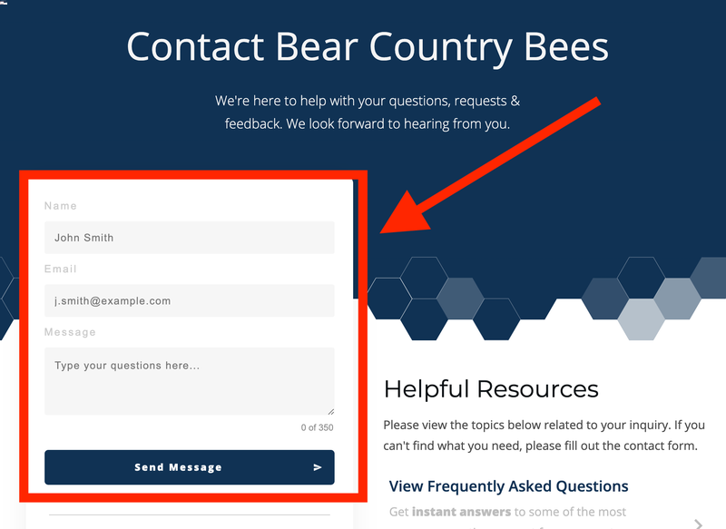 Bear Country Bees Contact Form
